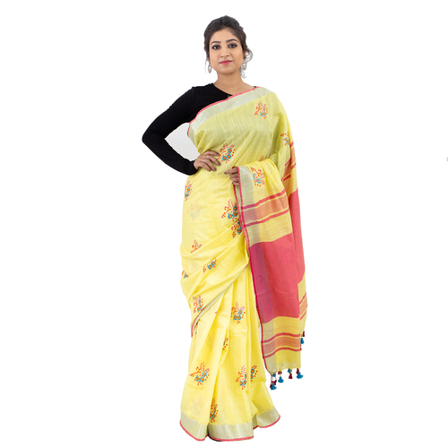 Pure Linen By Cotton Embroidery Saree