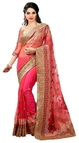 Pink Net Embroidery Saree with Brocade Blouse Piece