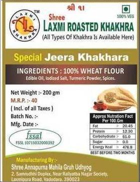Refreshing Taste Jeera Khakhra Good Quality