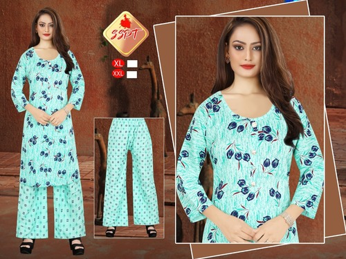Skin Friendly Ladies Kurti With Plazzo