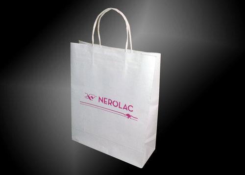 White Kraft Paper Bag With Twisted Rope Handle