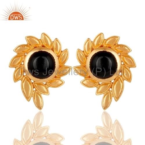 Designer Gold Plated Brass Black Onyx Gemstone Studs Earrings