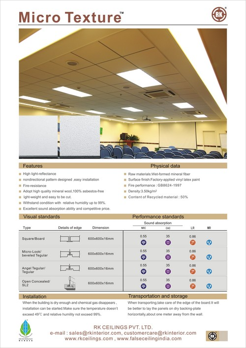 Micro Texture Mineral Fiber Acoustic Commercial Ceilings