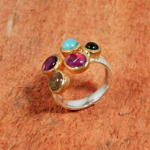 Tourmaline Combi 925 Sterling Silver Gold Plated Ring