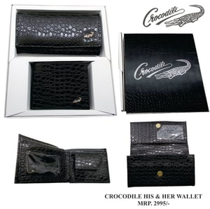 Crocodile His And Her Wallet Gift Set