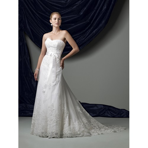 Illusion Neckline Wedding Gown: Strapless Illusion And Lace A-Line Gown Wit Softly Curved