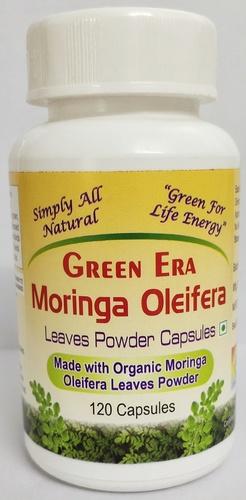 120 Veg Organic Moringa Oleifera Leaves Powder Capsules