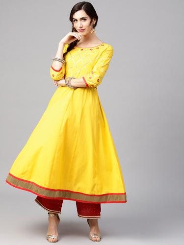 Women Yellow Yoke Design A-Line Kurta Decoration Material: Laces