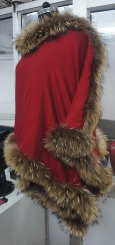 Silk Pashmina Wool With Four Side Genuine Fur 2017