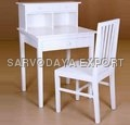 Wooden White Study Table With Chair