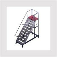 Wide Strip Trolley Ladder With Platform