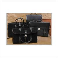 Black Sued Leather Office Bags