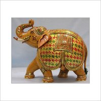 Natural Colour Painted Elephant Wooden Statue
