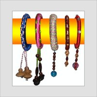 Wooden Bangles With Thread Work And Latkan