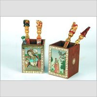 Wooden Pen Stand With Gemstone Painting