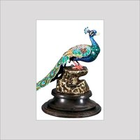 Enameled Silver Peacock Handcrafted Artifact