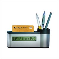 Pen And Card Holder With Digital Watch