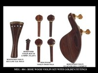 Violin Set In Rosewood with Gold Fittings