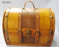 Handcrafted Antique Wooden Suitcase