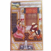 Moughal Art Painting On Marble Tile