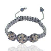 Sapphire Gemstone Macrame Diamond Beads Thread Bracelet