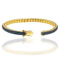 Sapphire Gemstone Pave Diamond Open-Able Gold Bangle