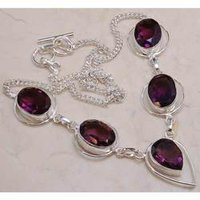 Metal Necklace With Dye Ruby Color Stone