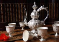 Luxury Handicraft Vintage Chinese Silver Wine Set Gift