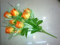 10h Silky Rose Bunch Artificial Flower
