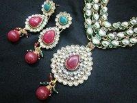 3 Lines Kundan Necklace Earring Enamel Set