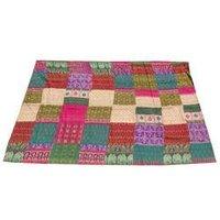 Vintage Silk Patola Sari Kantha Quilt