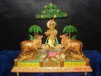 Wooden Krishna Painted Statue