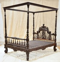 Anglo Indian Carved Bed