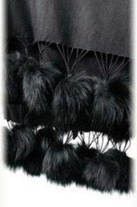 Silk Pashmina Fur Ball Shawls