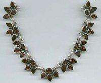Garnet Leaf Necklace