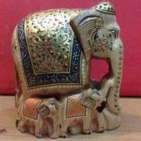 Painted Wooden Elephants