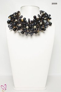 Luxurious Look Acrylic Glass Seed Bead Pearl Agate Stone Choker Necklace