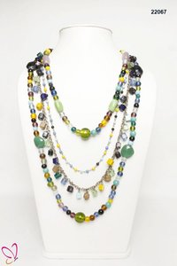 Alloy Metal Glass Beaded Multi Color Multi Strand Necklace