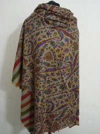 Cashmere Wool Kani Print Outline Embroided Shawl