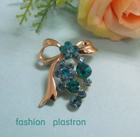 Fashion Gold Blue Crystal Bowknot Jewelry Brooch