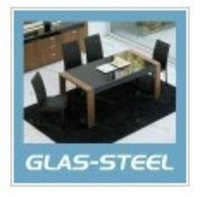 Soiled Wood And Hot Bending Glass Top Dining Table (Bt128)