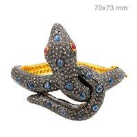 14k Yellow Gold Sapphire Ruby Snake Pave Diamond Bangle