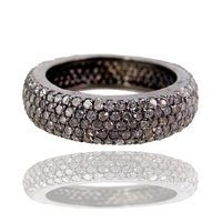 Pave Diamond Silver Ring