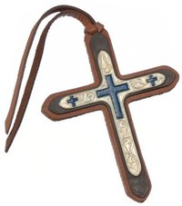 Tie On Leather Cross