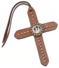 Tie On Leather Cross W/Silver Dots And 3 Cross Conch