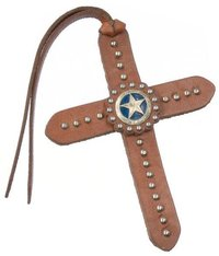 Tie On Leather Cross W/Silver Dots And Star Concho