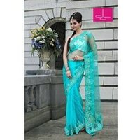 Thread Work Turquoise Saree