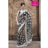 Black Lace Net Saree