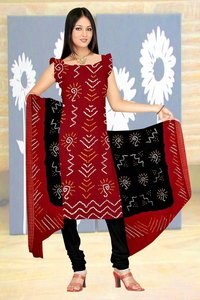 Cotton Satin Dress Without Work In Dark Red And Black Color