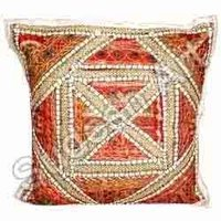 Orange Embroidered Cushion Cover